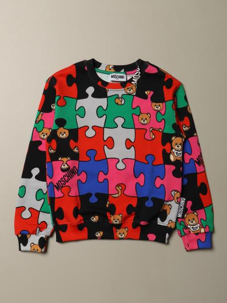Felpa Moschino Kid con Teddy Puzzle all over