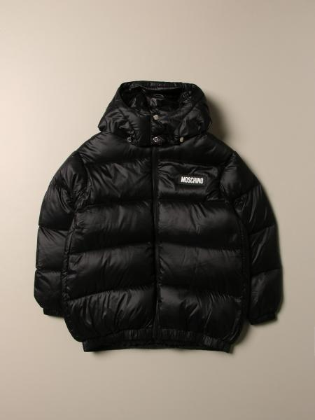 Moschino Kid nylon down jacket with back logo