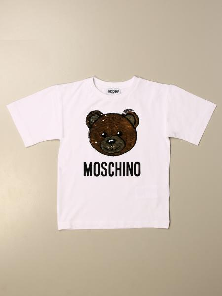 Moschino Kid T-shirt with sequin Teddy logo