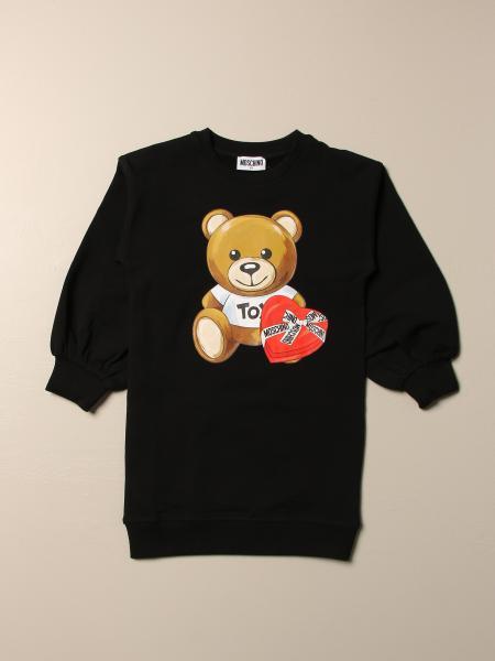 Moschino Kid sweatshirt dress with teddy heart logo