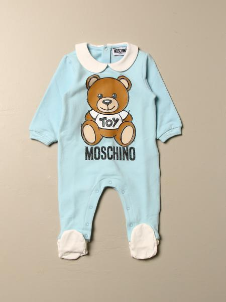 Moschino Baby footed jumpsuit with Teddy Toy logo