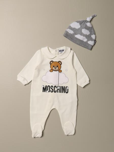 Moschino Baby romper with foot + hat with Teddy cloud logo