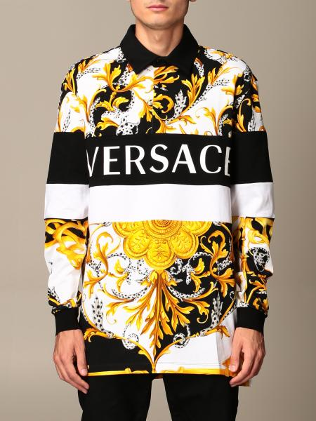 Versace polo shirt in cotton with baroque print