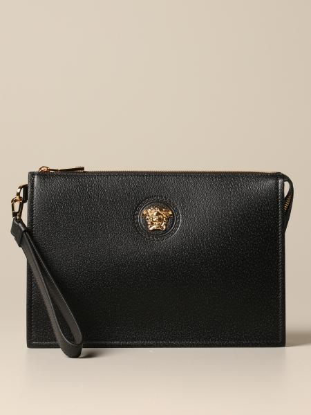 Clucth Versace in grained leather with medusa