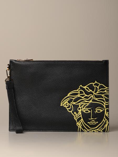 Versace clutch bag in grained leather with Medusa