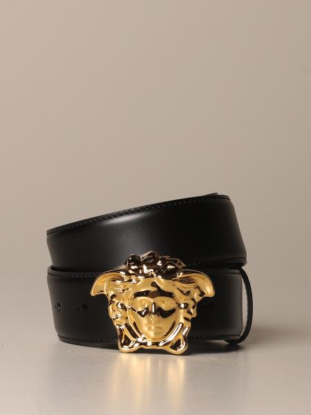 Palazzo Versace leather belt with Medusa buckle