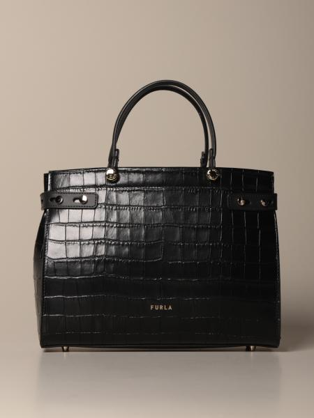 Lady Furla bag in crocodile print leather