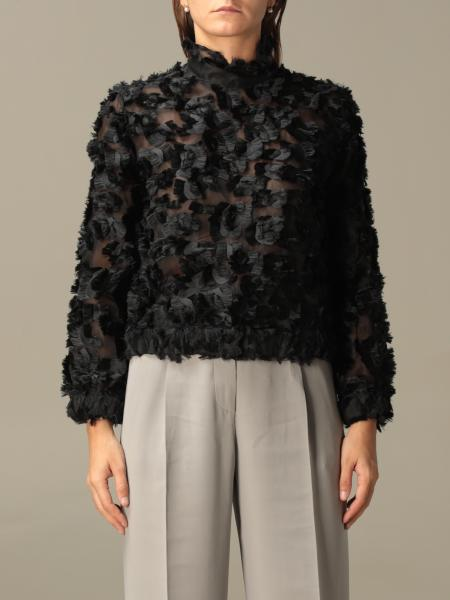 Giorgio Armani: Giorgio Armani top in organza with fringes