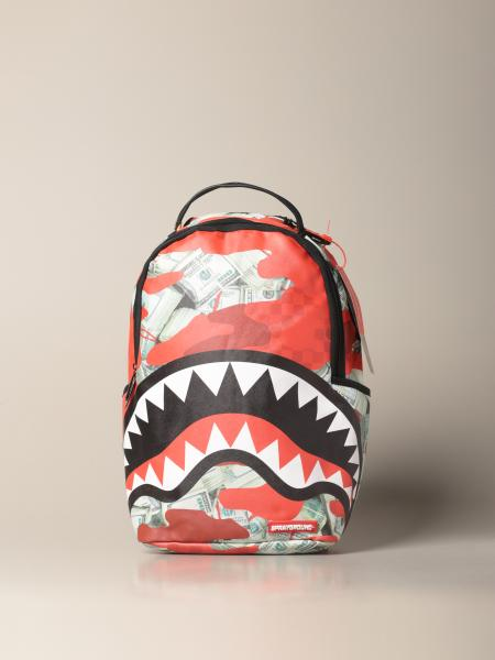 Sprayground backpack in vegan leather with shark and dollars print