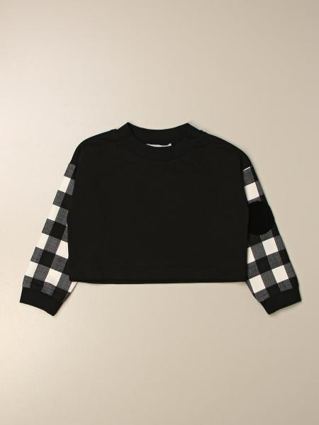 Simonetta: Simonetta cropped sweatshirt with checked sleeves