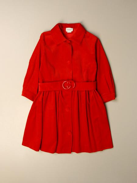 Gucci cotton dress with belt and GG logo