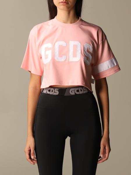 T-shirt GCDS cropped in cotone con logo