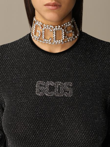 White GCDS necklace in metal and crystals