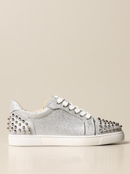 Christian Louboutin women: Christian Louboutin Vieira glitter sneakers with studs