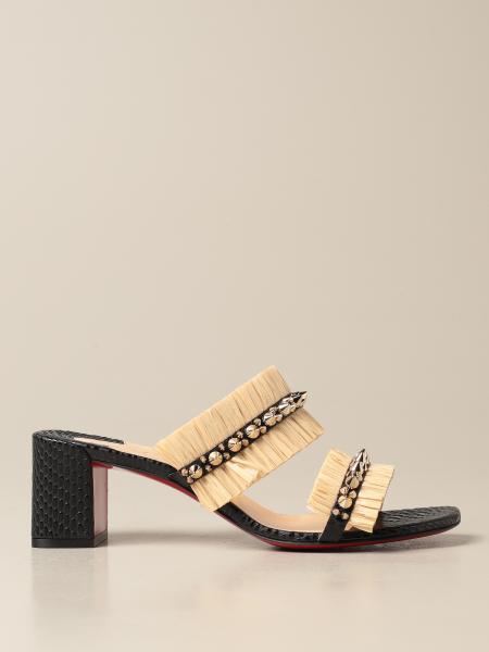 Christian Louboutin: Marivodu Christian Louboutin sandals in raffia with studs