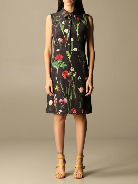 Boutique Moschino: Abito corto Boutique Moschino in cady a fantasia botanica