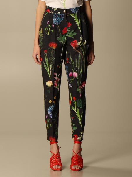 Boutique Moschino: Pantalone Boutique Moschino in cady a fantasia botanica