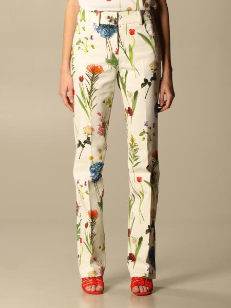 Boutique Moschino: Pantalone Drill Boutique Moschino in cotone a fantasia botanica