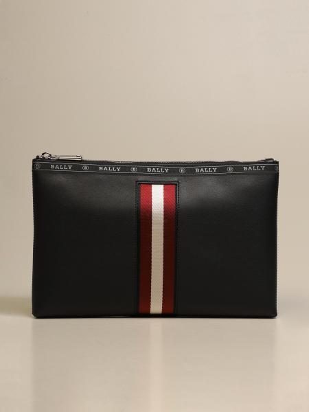 Bally: Hartland Bally clutch bag in leather with trainspotting canvas band