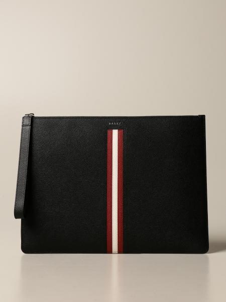 Bally: Thalden.Lt Bally clutch bag in leather with trainspotting band