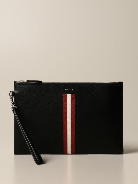 Bally: Tenery.Lt Bally clutch bag in leather with trainspotting band