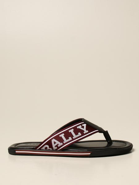 Bally: Bally thong sandal in leather and fabric