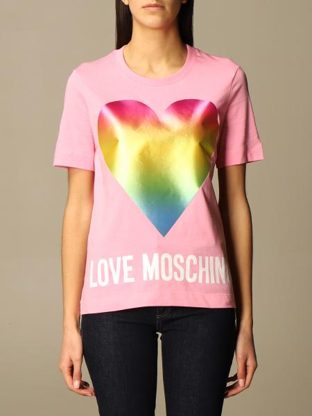 Love Moschino cotton T-shirt with heart print