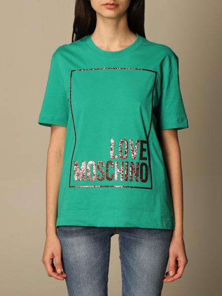 Love Moschino cotton T-shirt with glitter logo print