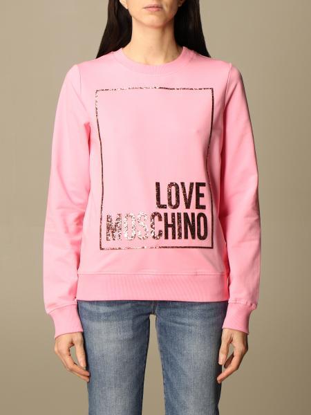 Felpa Love Moschino in cotone con logo glitter