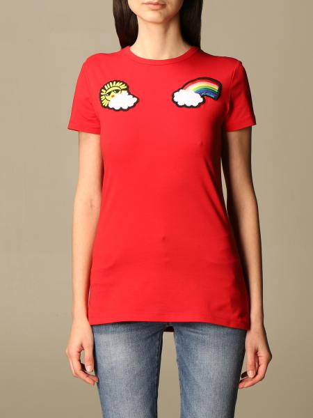T-shirt Love Moschino in cotone con patches