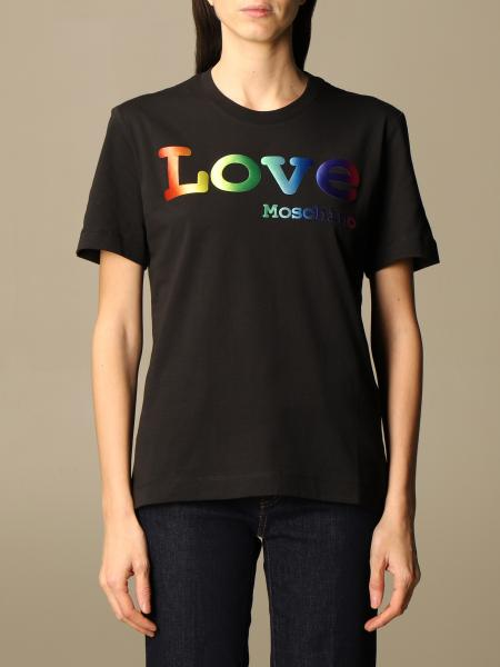 Love Moschino cotton T-shirt with multicolor logo