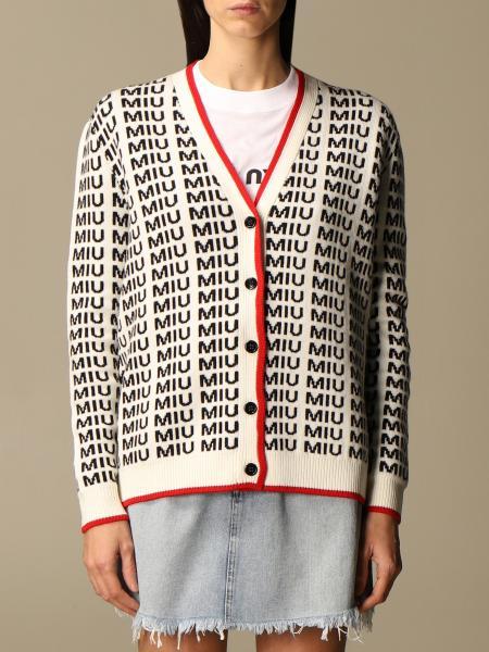 Miu Miu: Miu Miu cardigan in virgin wool with all-over logo