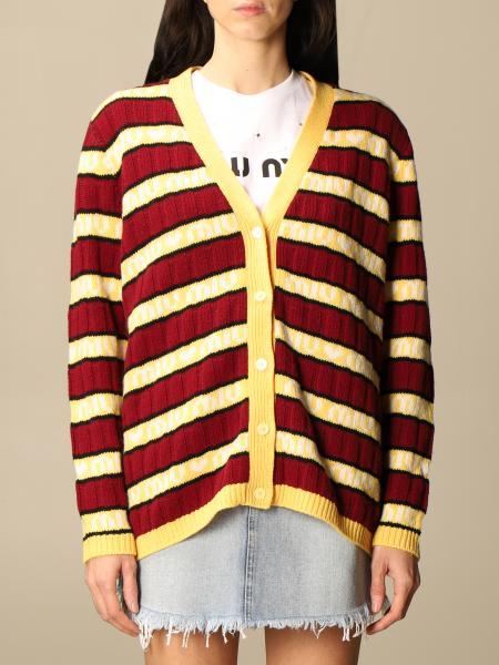 Miu Miu: Miu Miu cardigan in virgin wool with logoed bands