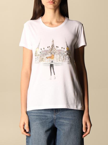 T-shirt Patrizia Pepe in cotone con logo di strass