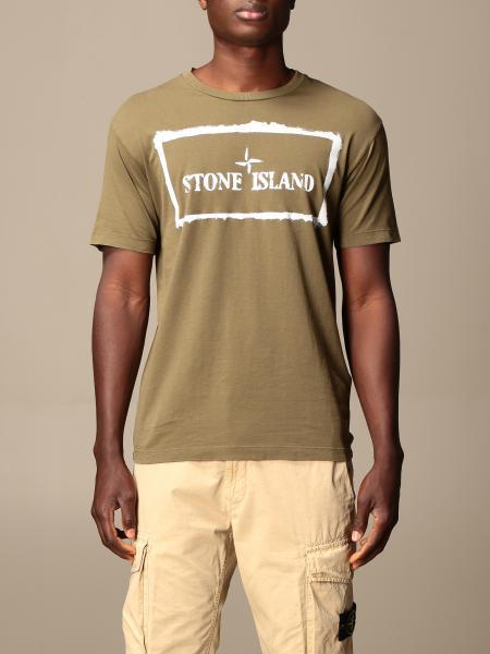 T-shirt Stone Island in cotone con stampa