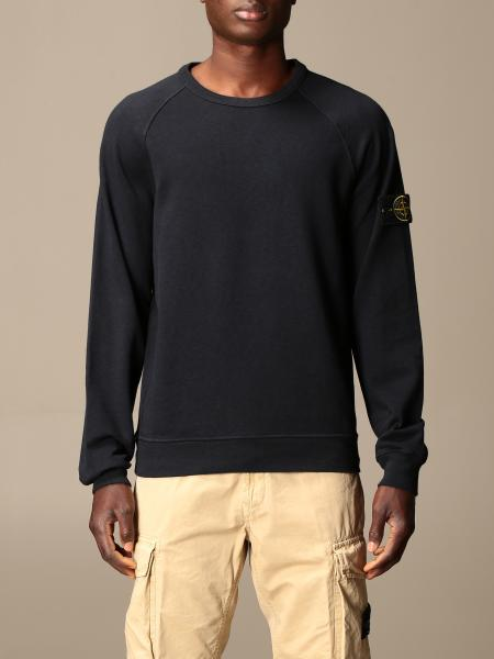 Stone Island crewneck sweatshirt in garment-dyed malfilé cotton