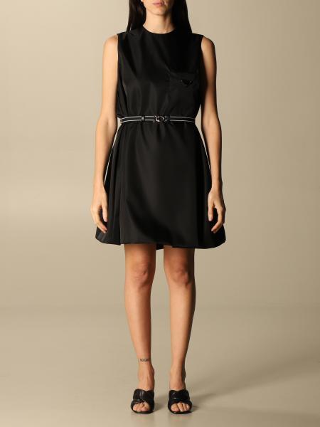 Prada women: Prada nylon gabardine dress with belt