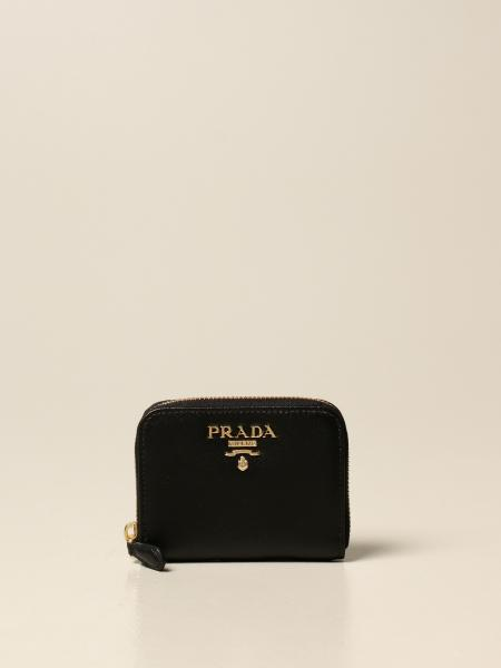 Prada wallet with logo lettering in saffiano leather