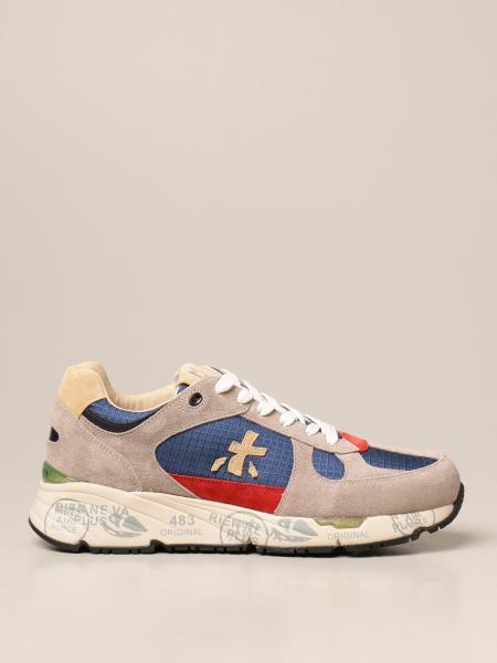 Premiata men: Mase Premiata sneakers in suede and checked fabric
