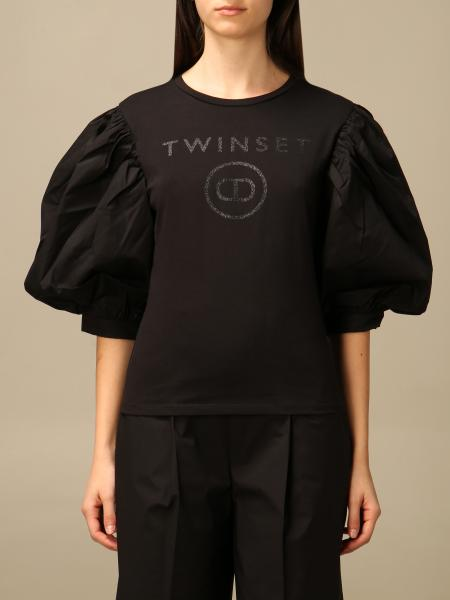 Twin-Set donna: T-shirt Twin-set in cotone con maniche a palloncino