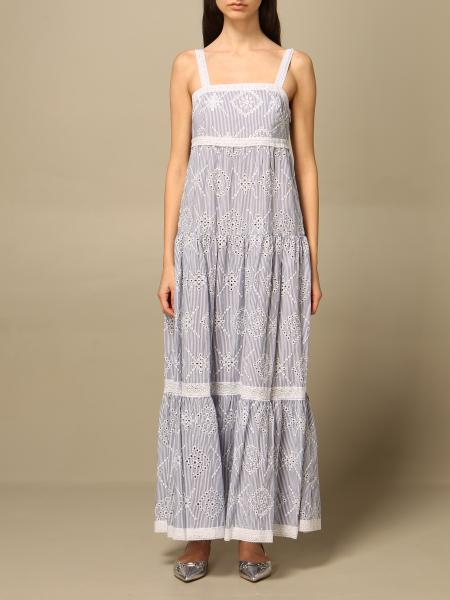 Twinset women: Twin-set long dress in bicolor Sangallo