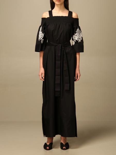 Twinset women: Twin-set long dress in poplin with lace details