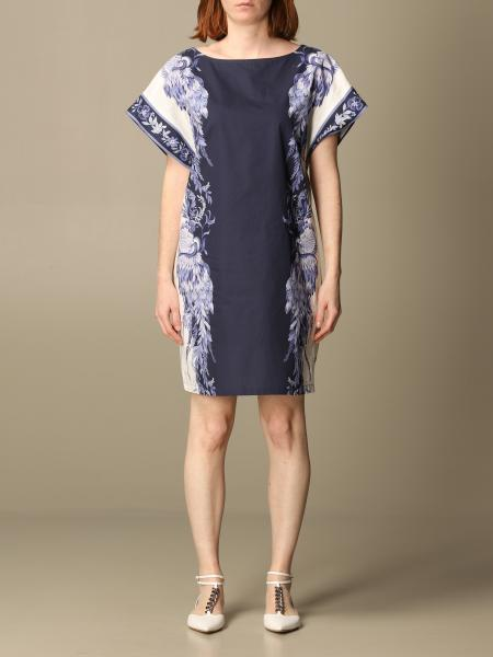 Twinset women: Twin-set short dress in porcelain patterned cotton