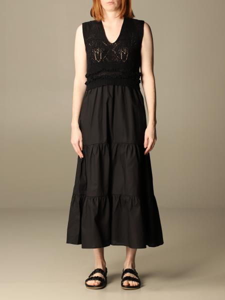 Twinset women: Twin-set long dress in knit and cotton