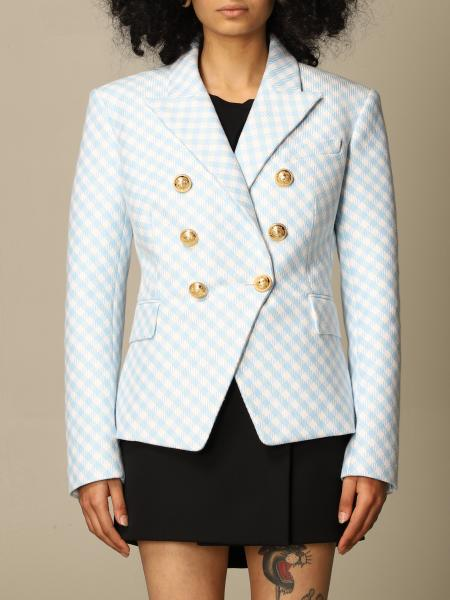 Checked double-breasted Balmain jacket