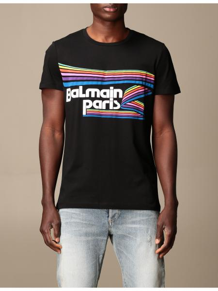 Balmain cotton T-shirt with logo and buttons