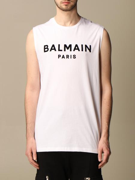 Balmain cotton tank top with flocked logo