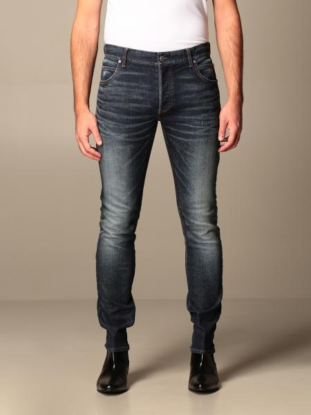 Balmain jeans in used stretch denim with logo