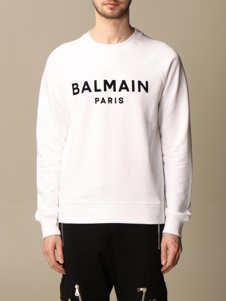 Balmain crewneck sweatshirt in cotton with flocked logo