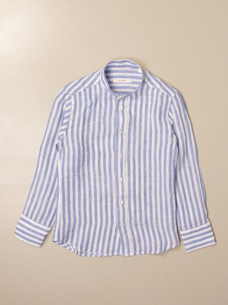 Camicia Baronio in lino con collo alla coreana